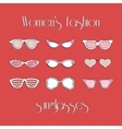 Womens fashion isolated sunglasses set vector image