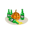 Beer Bottle and Pumpkin vector image