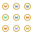 different types of butterflies icons set vector image