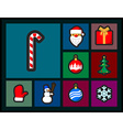Set of Christmas flat icons vector image