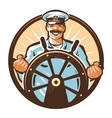 ship captain logo cruise journey tour vector image