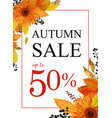 autumn season sale banner background with orange vector image