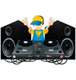 Cute DJ with a turntable and two speakers vector image