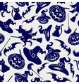 Halloween seamless blue pattern vector image