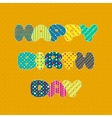 Happy Birthday card in patchwork style vector image
