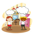 Male and female chef cooking vector image
