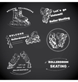 set for Roller Skates with text Hand drawn logos vector image