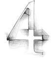 Sketch font Number 4 vector image