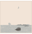 Vintage seascape with ships mountain bird vector image
