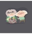 Grandfather giving his care to sick grandmother vector image