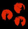 japanese samurai warriors silhouette vector image