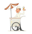 smiling ice cream seller with cart retro vintage vector image