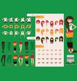 Constructor of rastafarian girl character vector image