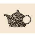 teapot of coffee beans vector image vector image