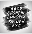 handwritten brush white letters isolated on black vector image