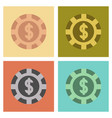assembly flat icons single poker chips vector image