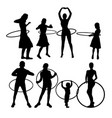 hula hoop dancer activity silhouettes vector image