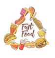 fast food hand drawn design with burger fries vector image