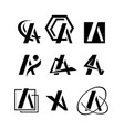 initial letter a modern logo pack vector image vector image