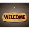 Welcome Wooden Sign Background vector image vector image