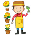 Gardener and flower pot vector image