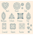 Set of stone cuts scheme vector image