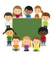 Kids around chalkboard vector image