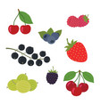 berries set strawberry vector image