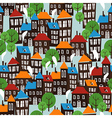 Christmas town seamless cartoon pattern vector image