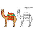 coloring page with camel outline in cartoon style vector image