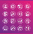 school and college education line icons set vector image