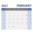 2017 February calendar week starts on Sunday vector image vector image