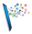 Tablet pc and icons business vector image vector image