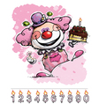 Clown Carrying a Girls Birthday Cake vector image