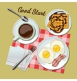 Breakfast set top view vector image
