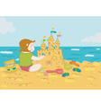 girl and sandcastle vector image