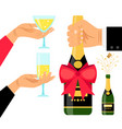 champagne bottle and drinking glasses vector image