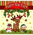 Christmas card with Santas helpers cute team vector image