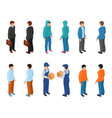 trendy isometric young creative people with vector image