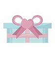 Blue gift box pink bow heart vector image
