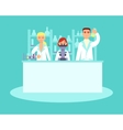 Scientists conducting research in laboratories vector image