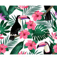 tropical birds and palm leaves seamless background vector image