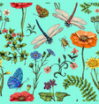summer seamless pattern botanical vector image