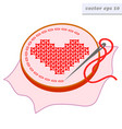 embroidered cross stitched heart vector image