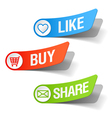 buy like and share labels vector image