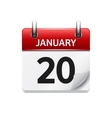 January 20 flat daily calendar icon Date vector image