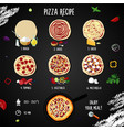 italian pizza with pepperoni step-by-step recipe vector image