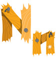 letter n from wooden planks alphabet vector image