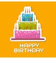 Orange Birthday Background with Cake vector image