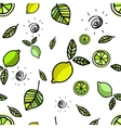 Seamless pattern with lemons on white vector image
